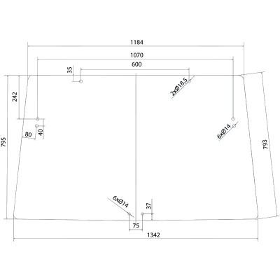 Szyba przednia John Deere Seria 6000 - 6010